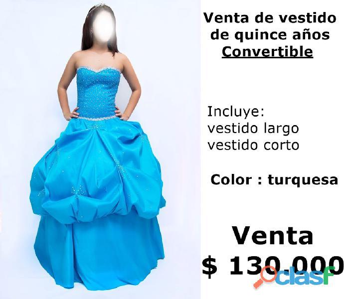 Vestido de mujer para 15 años turquesa refer/ 0979 venta $130.000