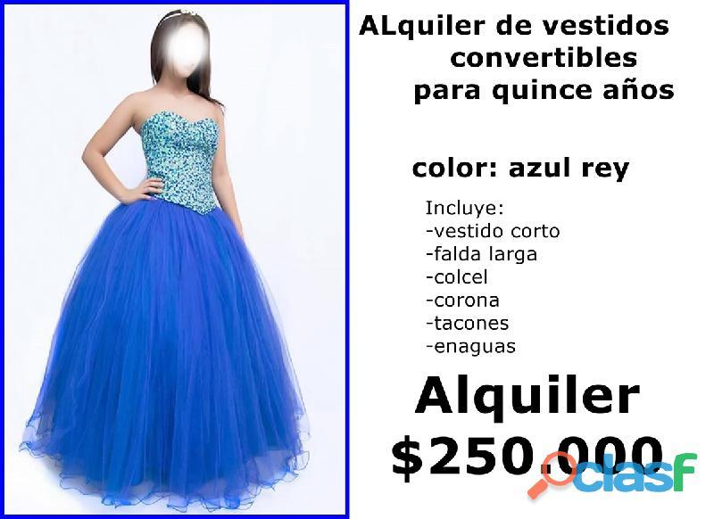 Alquiler de vestidos mujer convertibles para quince años ref 1917 azul rey *