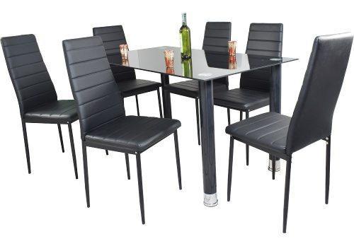 Comedor en vidrio 6 puestos color negro moderno