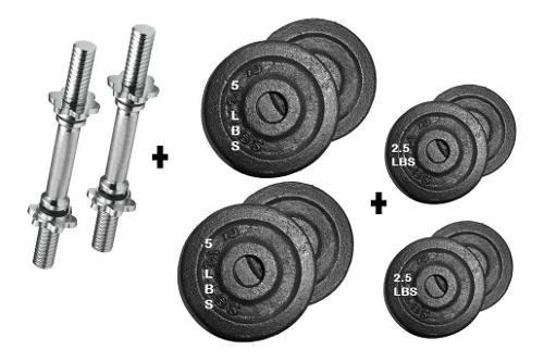 Set kit pesas 2 barras mancuerna-8 discos-38 libras gym grad