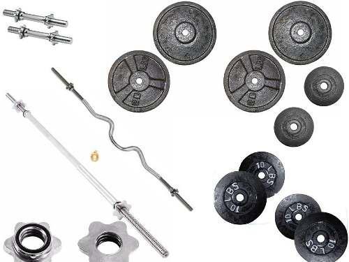 Set kit pesas barra mancuernas juego*152 libras gym graduabl