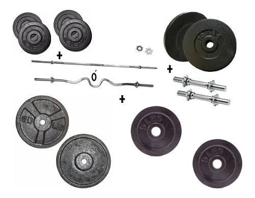 Set kit pesas barra recta ó z mancuernas 102 libras gym