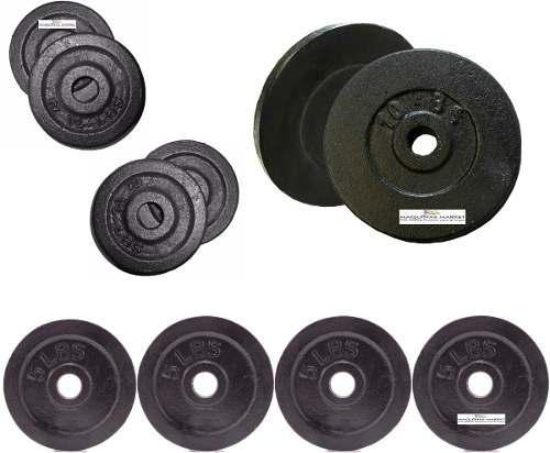 Set pesas 50 libras kit 10 discos para barras-mancuernas gym