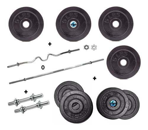Set pesas discos kit barra recta ó curva+mancuernas 52lb