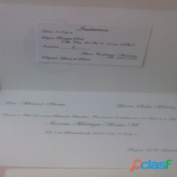 Impresión tarjetas de grado, matrimonio, 15 años, eventos tel 4744958 bogotà