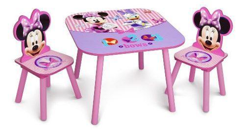 Dellta disney minnie mouse mesa + 2 sillas niñas