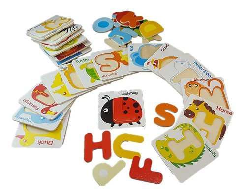 Fichas abecedario madera niños montessori juegos bebes