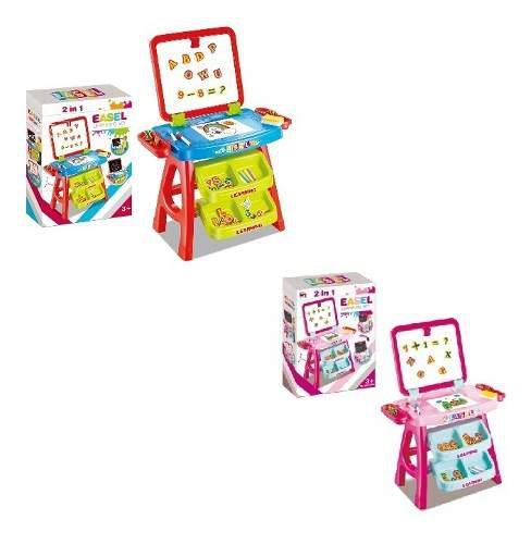 Mesa tablero magnético y de tiza 3 en 1 con niño y niña