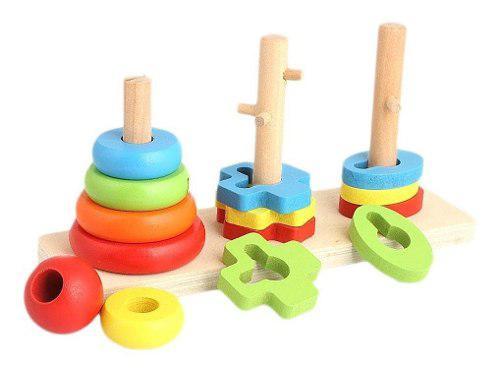 Torres apilar juegos didácticos niños bebés madera