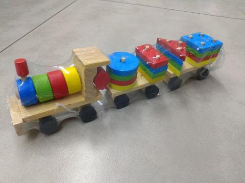 Tren madera figuras juegos didácticos niños infantil
