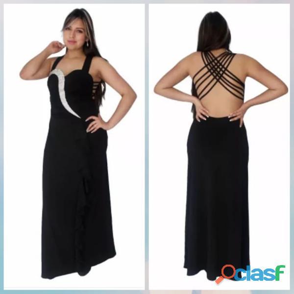 Alquiler de vestidos negro largos de cóctel para mujer miss morena
