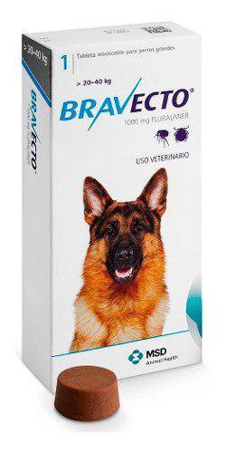 Antipulga Masticable Bravecto Perros De 20 Y 40kg 1000mg