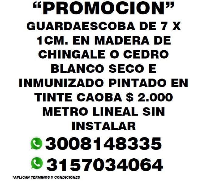 """PROMOCION"""" GUARDAESCOBA DE 7 X 1CM. EN MADERA DE"""