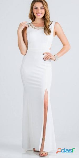 Alquiler de vestidos blanco de fiesta elegantes para mujer /ñl