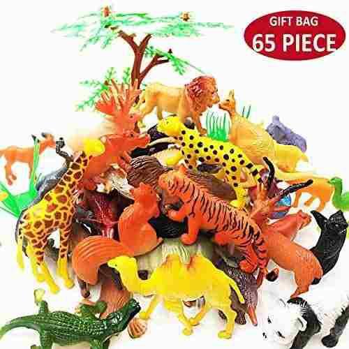 65 piezas de animales figuras de juguete conjunto plastico m
