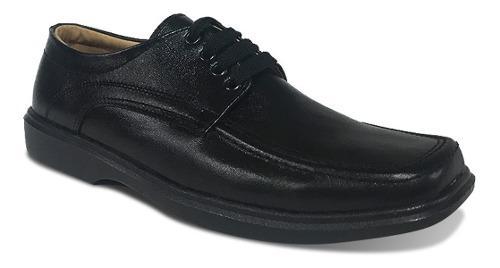 Zapato colegial elegante hombre niño negro cuero formal 960