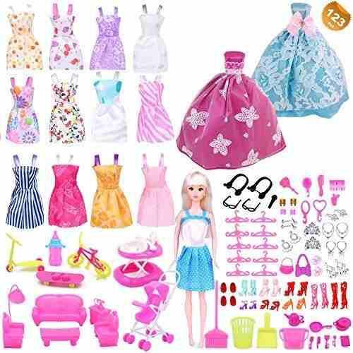 Eutenghao 123pcs ropa y accesorios para muñecas barbie con