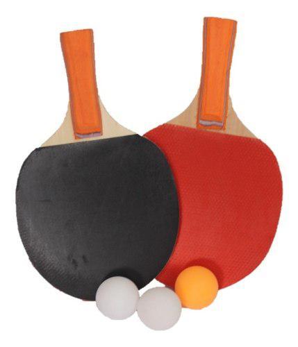 Set Raquetas Ping Pong Tenis De Mesa Rojo Negra Mck 7106 *