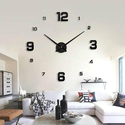 Reloj de pared 3d color negro