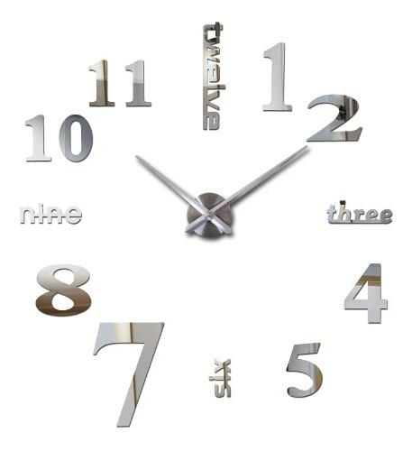 Reloj de pared 3d grande plateado diseño moderno