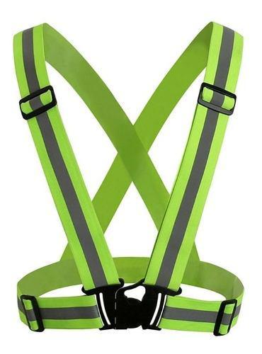 Chaleco tipo arnes elastico reflectivo neon marca nara safe
