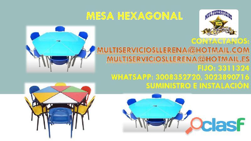Juego de mesa hexagonal y sillas