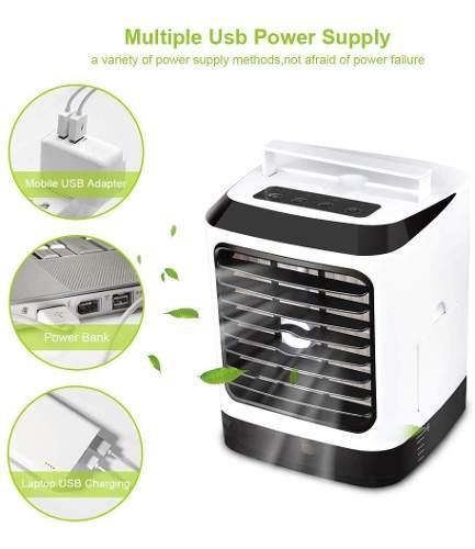 Mini ventilador 5 en 1 humidificador con luz led 7 colores