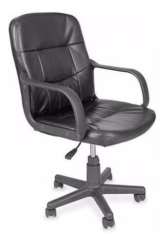 Silla escritorio ejecutiva neumatica brazos ecocuero negra