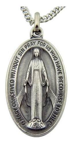 Cadena de eslabones con medalla virgen maría madonna colgan