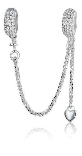 Charm dije cadena seguridad corazón fabricado en plata 925