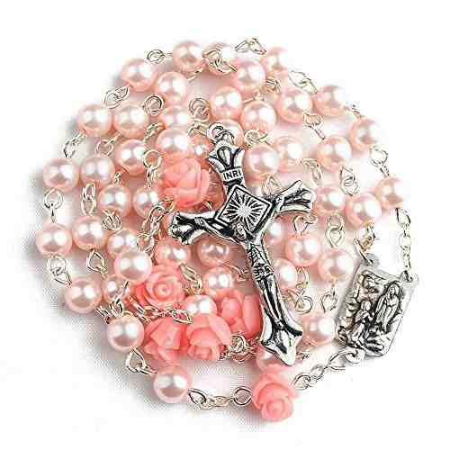 Hedi pink color santo rosario con la medalla de lourdes