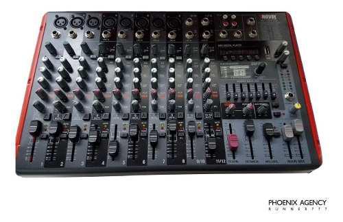 Mezclador consola potenciada novik neo 12 canales 1200w usb