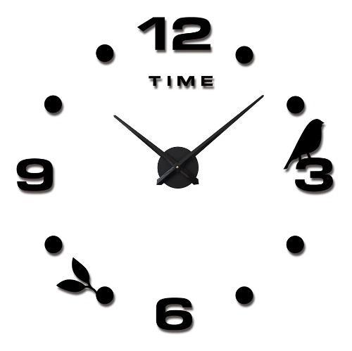 Reloj de pared 3d gigante negro diseño europeo