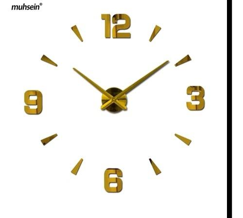 Reloj de pared 3d grande color dorado 100x100