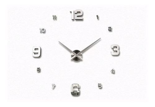 Reloj de pared 3d plateado diseño moderno