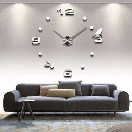 Reloj de pared grande plateado diseño moderno