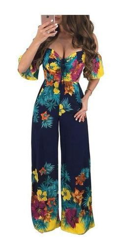 Enterizo pantalon mujer flores elegante pantalon entero