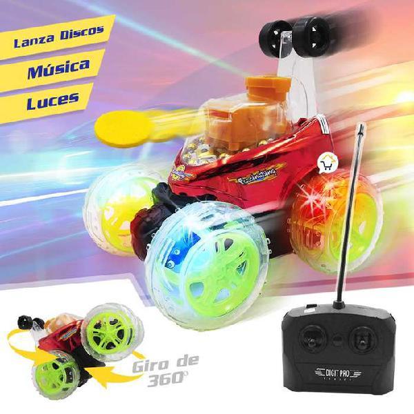 Carro loco recargable lanza discos luces sonido acrobacias