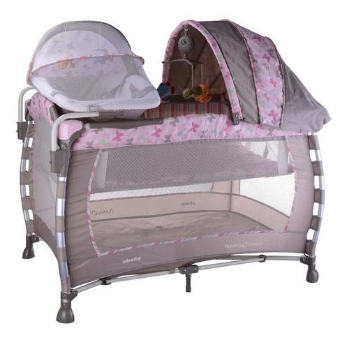 Cuna corral bebe con moises ebaby 778 rosa