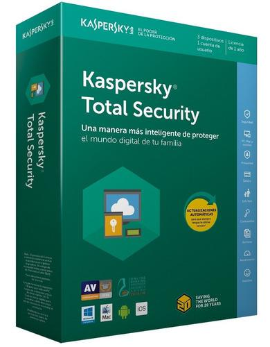 Licencia antivirus kaspersky total security para 3pc