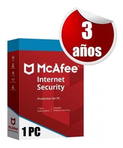 Mcafee internet security 1 pc 3 años licencia original