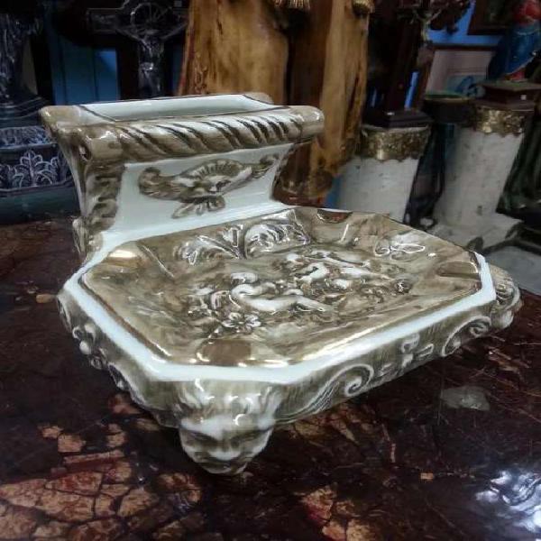 Cenicero de mesa antiguo en porcelana capo di monti italy