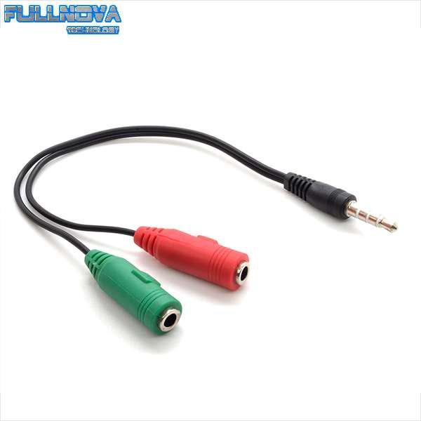 Adaptador auxiliar doble a simple 3.5 mm- para diademas o