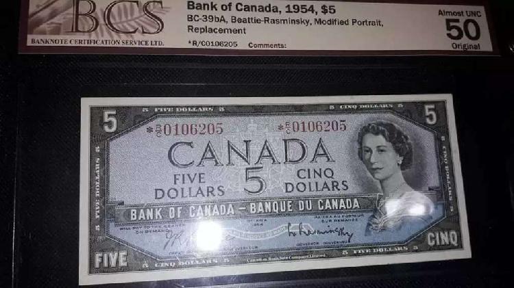 Billete 5 dollars canada 1954 * reposicion