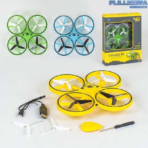 Dron colorful 3 colores - control desde mano + 2 baterias +