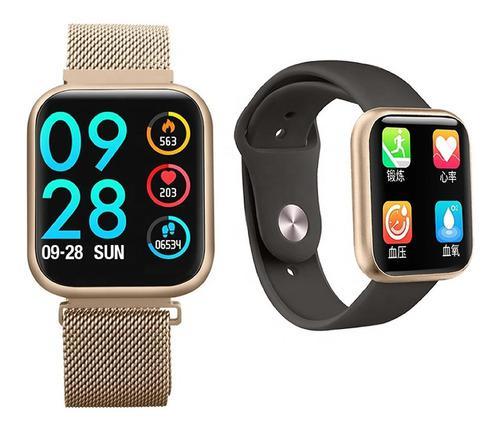 Reloj Inteligente P80 Gold Para Mujer + Manilla Adicional