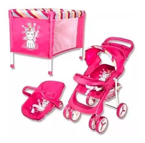 Combo coche, cuna, portabebe para niñas bebesit. doll kit.