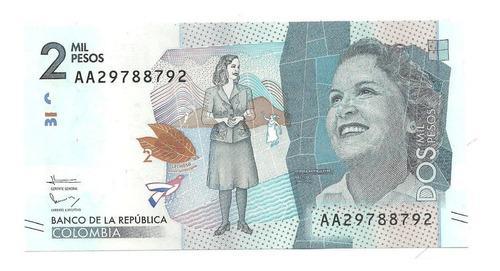 Billete 2 mil pesos radar, letras y seriales aleatorios unc