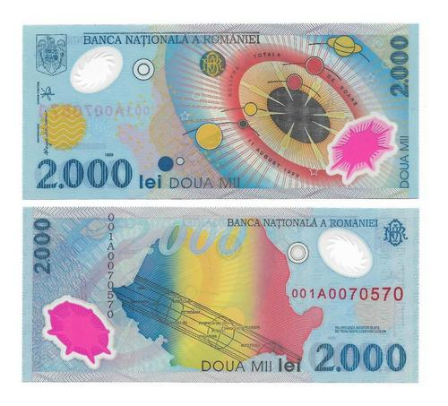 Billete rumanía polímero 2000 lei 1999 serie 001a unc