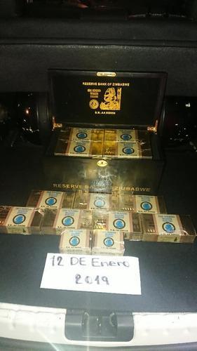 Billete zimbabwe dorados tipo láminas de.oro de 24 quilates